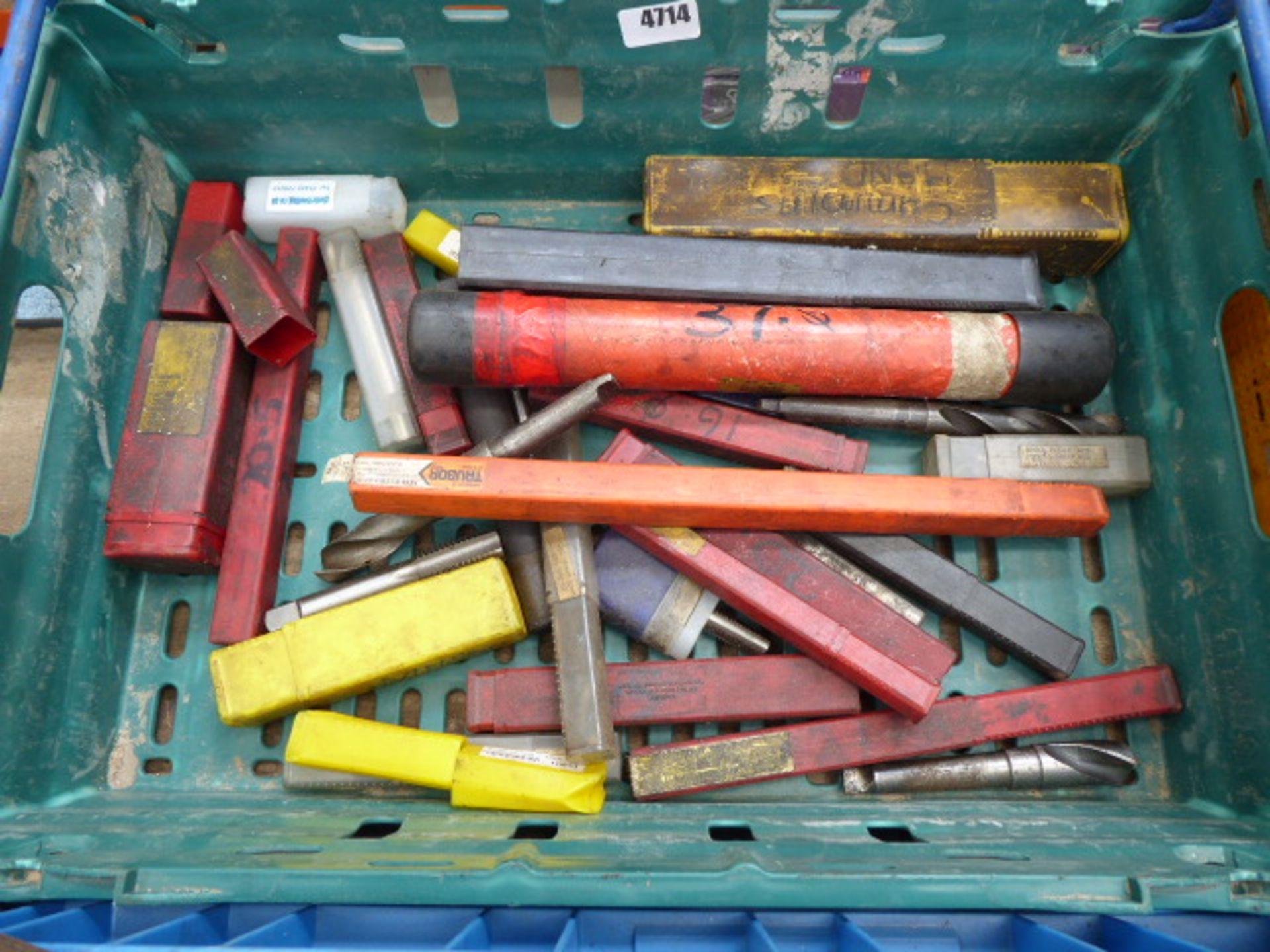 Lot 4714 - Box containing a quantity of machine drill bits and taps