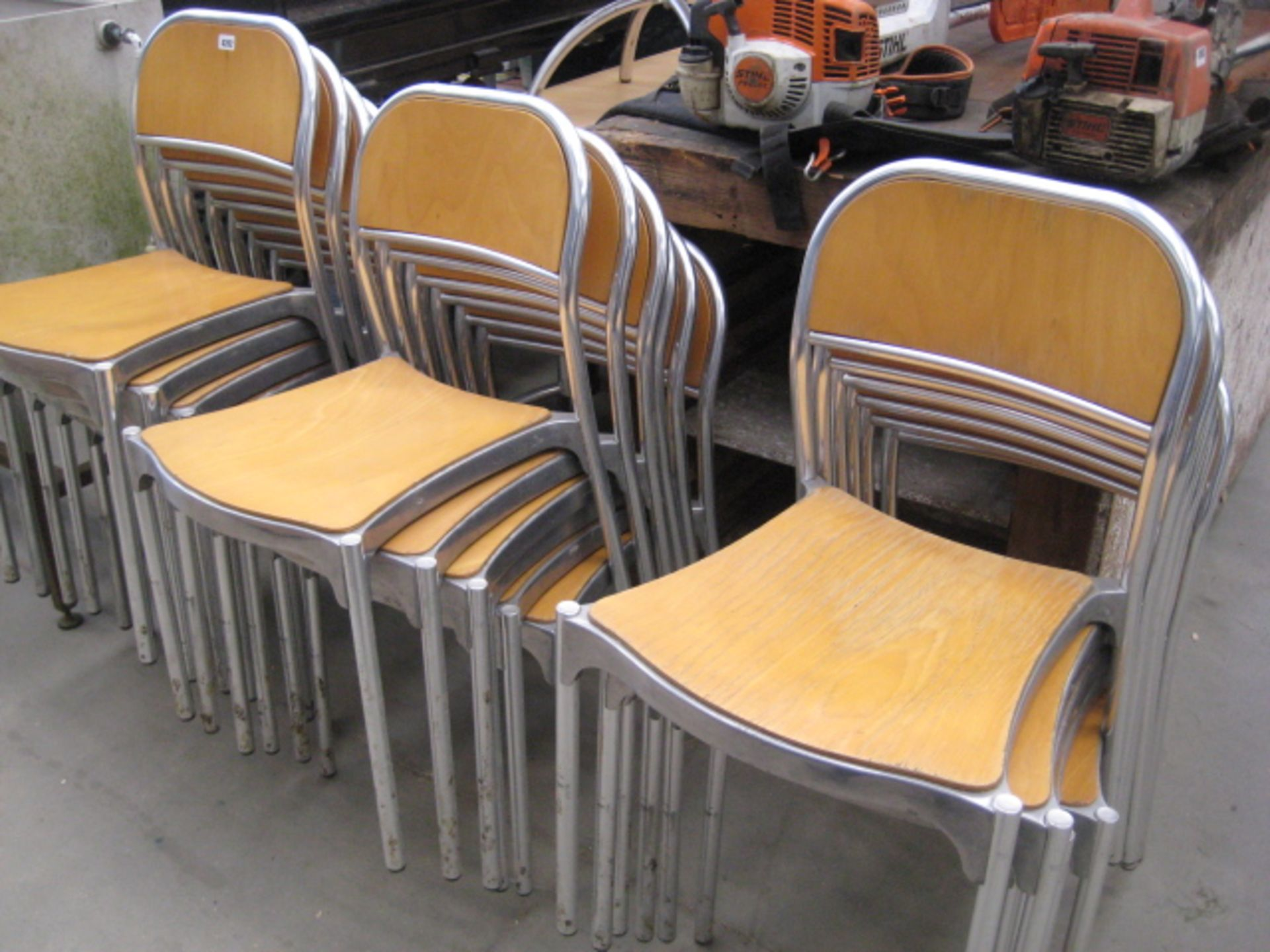 Lot 4202 - Quantity of beech and aluminium stacking chairs together with 3 cafe style tables