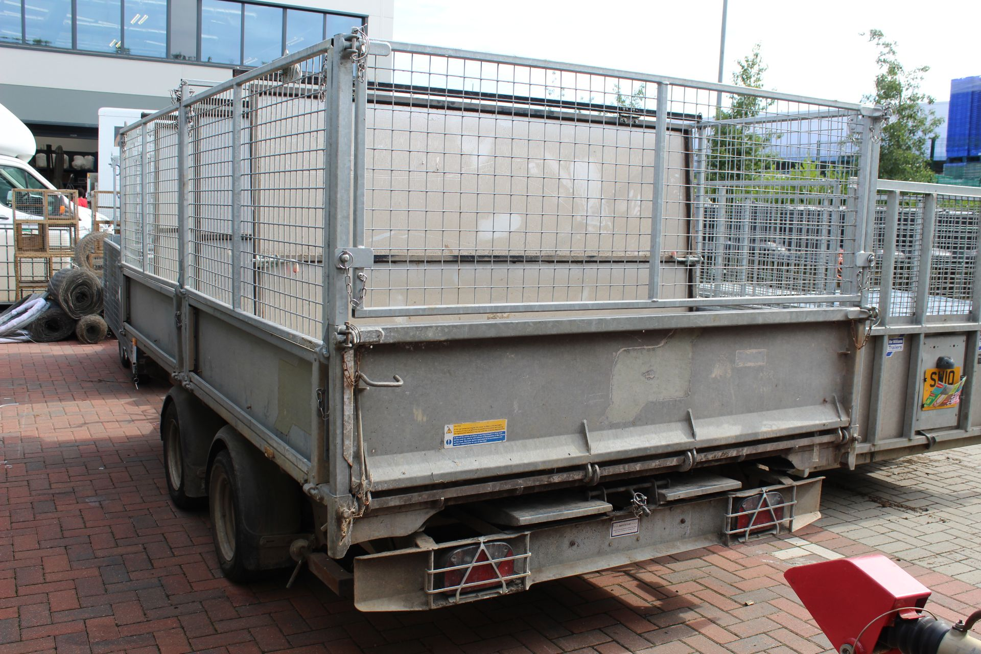 Lot 4124 - Ifor Williams TT3621 (12' x 6'6'') drop side twin axle tipping trailer with electric hydraulic
