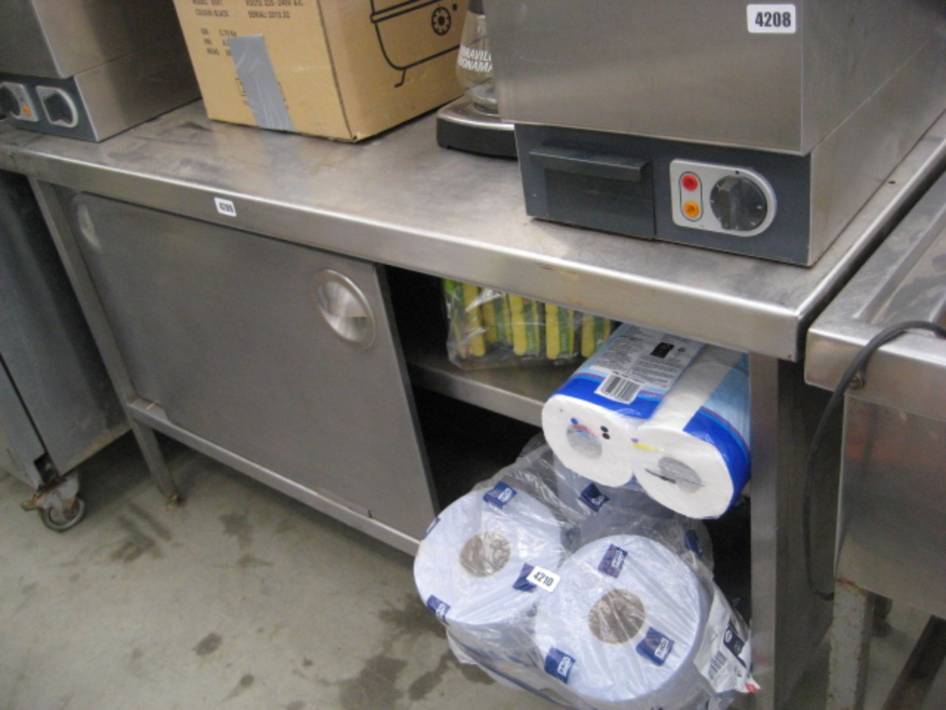 Lot 4209 - Stainless steel preparation table with cupboard under