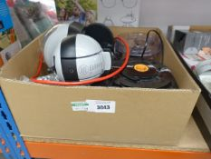 Box containing Nescafe Dolce Gusto coffee dispenser, Kenwood mixer, etc