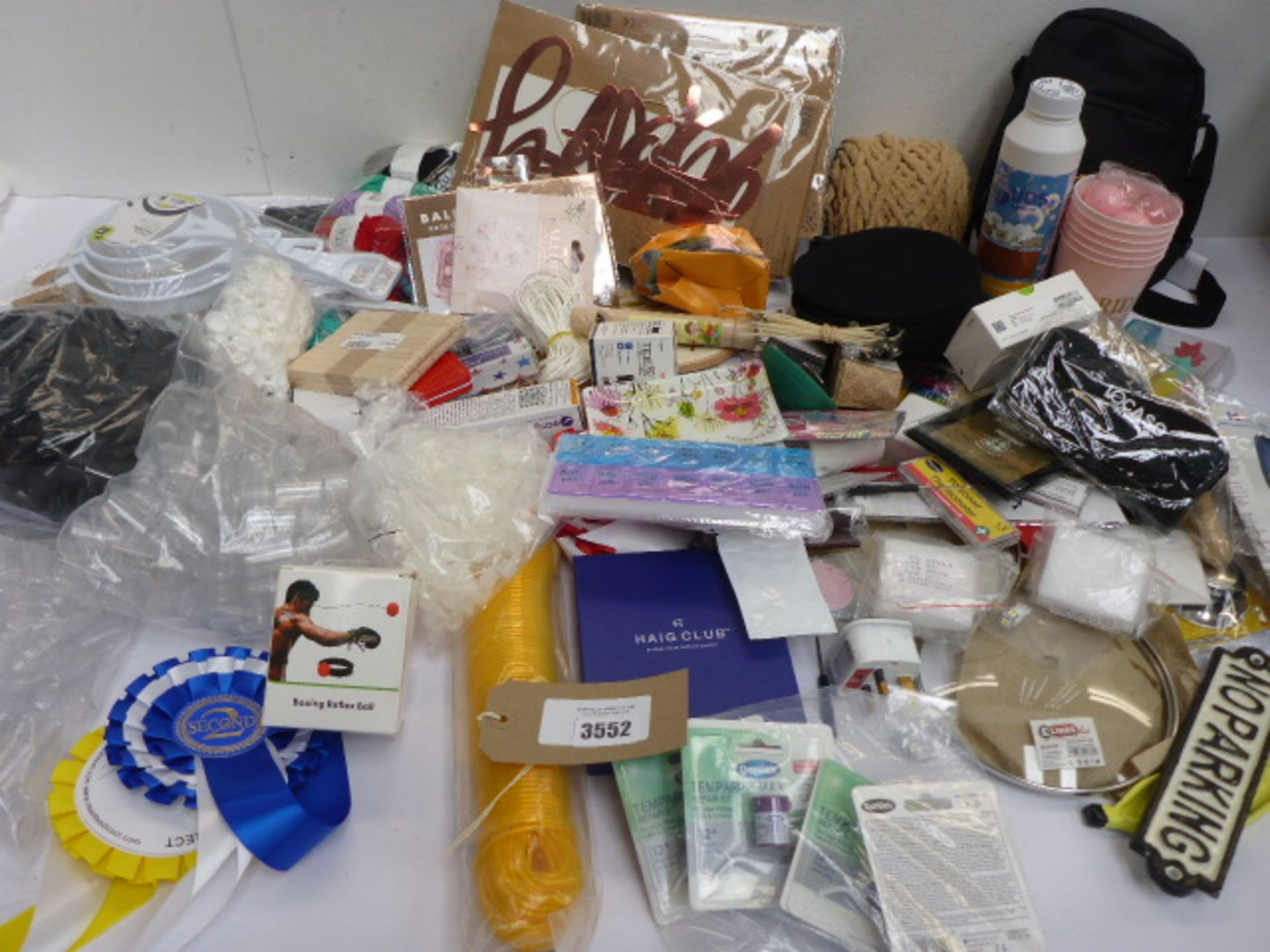 Lot 3552 - Large bag of household sundries including party, dental, craft and stationery products, mini plastic