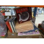Tray containing an Astro fan heater, towels, mixed curtains, etc