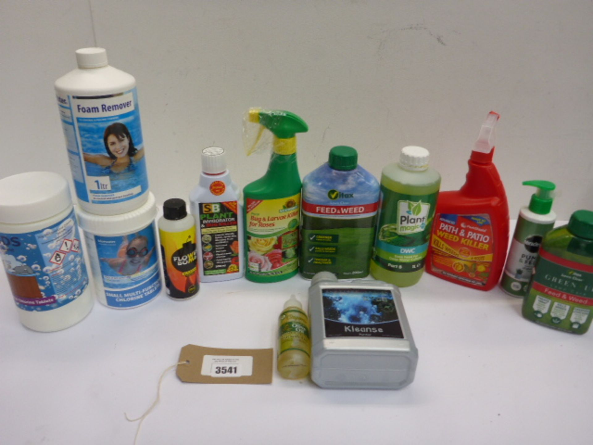 Lot 3541 - Chlorine tablets, foam remover, lawn feed, weed killer etc