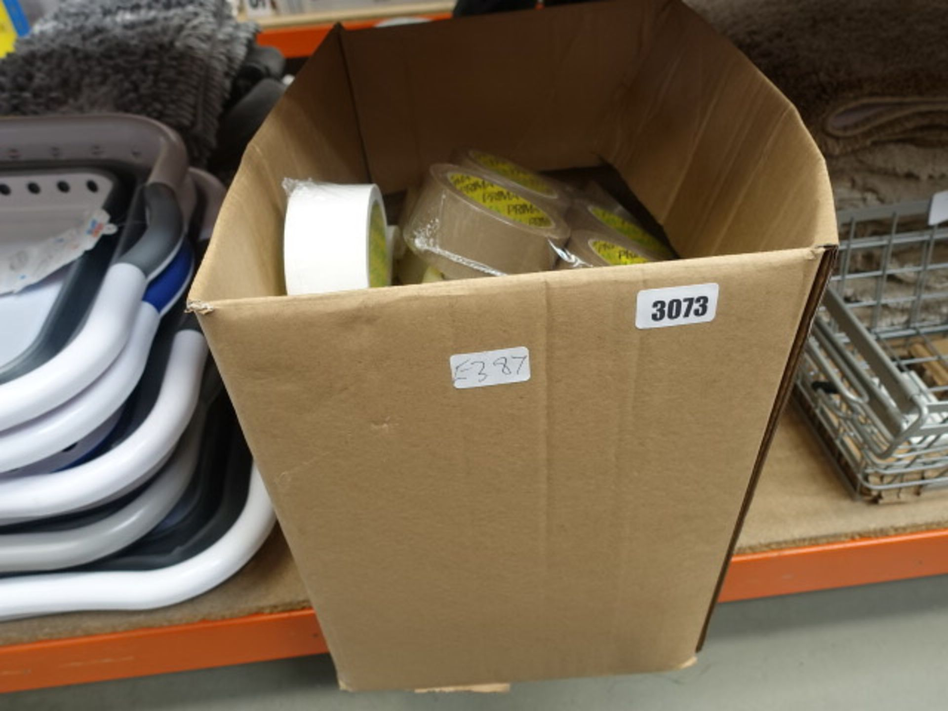 Lot 3073 - Box containing various tape, duct tape, sellotape, etc