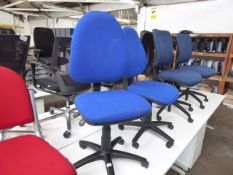 2 Torasen blue cloth operators chairs