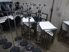 2 Chrome and black hat and coat stands