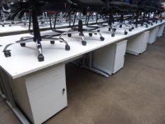 5 160cm white workstations on cantilever legs with matching 3 drawer under desk pedestal