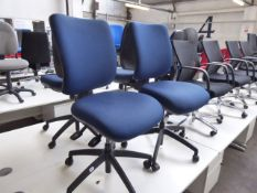 2 Dark blue swivel operators chairs