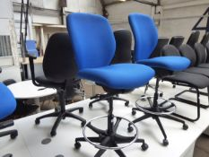 Boss Design blue cloth draughtsmans chair