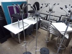 3 Chrome and black hat and coat stands