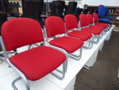 6 Red cloth cantilever chairs