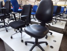 1 Black cloth swivel armchair, 1 black vinyl operators chair and 1 grey cloth office chair