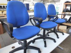 3 Blue cloth swivel armchairs