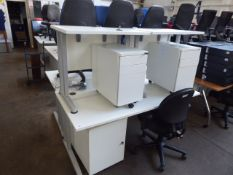 160cm white cantilever workstation with 3 drawer pedestal plus 2 smaller matching units