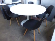 120cm diameter white circular top table on single pedestal with 4 matching designer inspired chairs