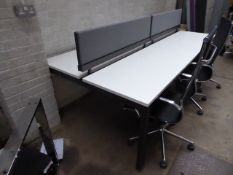215 Quad workstation with 2 privacy screens with a 3 drawer pedestal finished in white top and