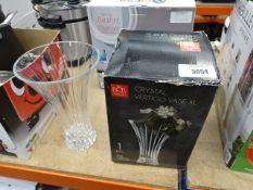 1 boxed plus 1 unboxed crystal vertigo vases