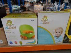 Silicone childrens egg potty plus a bag of digital forehead thermometers, dummy sterilisers, nail