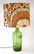 A 1960/70's moulded green glass table lamp in the manner of Holmegaard CONDITION REPORT: