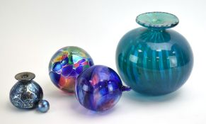 A Mdina-style turquoise glass vase, h.
