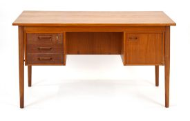 A 1960's Danish teak and crossbanded desk by Vi-ma Mobler A/S,