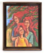 Tafa Haren (21st Century), Three ladies with flowing red hair, signed and dated 2015, acrylic,