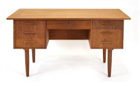 A 1960's Danish teak and crossbanded desk,
