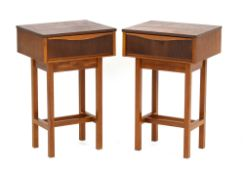 A pair of 1960's Danish designed teak bedside cabinets on later square supports, w.