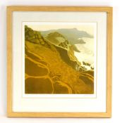 Carol Lander, 'The Cliffs- Nanjizal to Porthgwarra', signed and numbered 4/18, lino cut,