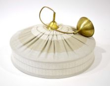 A 1970's fabric and gilded ceiling light CONDITION REPORT: Working order unknown,