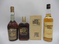 3 bottles, 1x Martell VS Fine Cognac 40% 70cl,