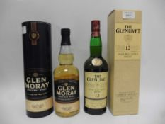2 bottles, 1x The Glenlivet 12 year old Single Malt Scotch Whisky with box, old style label,
