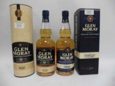 2 bottles of Glen Moray Speyside Single Malt Scotch Whisky,