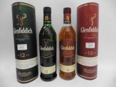 2 bottles of Glenfiddich Single Malt Scotch Whisky with cartons,