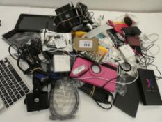 Bag containing quantity of electrical and mobile related accessories; adapters, spare laptop screen,