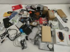 Bag containing quantity of various mobile phone accessories; cases, covers, leads, adapters,