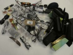 Bag containing quantity of reading glasses and sunglasses plus various empty cases