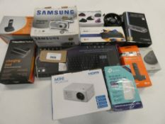 Bag containing quantity of miscellaneous electrical related items; Samsung camera, mini projector,
