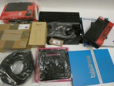 Bag containing tablet cases, Switch case, keyboard, laptop stand, cabling, spare laptop screen