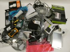 Bag containing quantity of electrical related accessories; cables, PSUs, cases, digital camera,