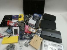 Bag containing various electrical related accessories/devices; Acer laptop screen, keyboard,