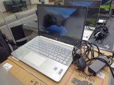 HP laptop core i5 10th gen processor, 256gb ssd, 8gb ram, running Windows 10 with power supply and