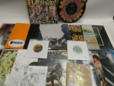 Box containing quantity of LP and 45 records to include Supa Ape, David Bowie, 1975, Liam
