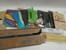 Bag containing various tablet cases/covers and printer toner