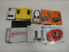 Bag containing miscellaneous items; Fire HD cases, EE WiFi, BT 4G Assure dongle, BT phone set, Chino
