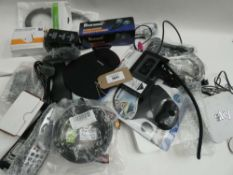 Bag containing electrical related accessories; cables, leads, microphones, mouse pad, etc