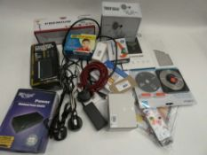 Bag containing microphone shock mount, cabling, external HDD case, power supplies, toner etc
