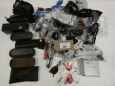 Bag containing various sunglasses, reading glasses and empty cases