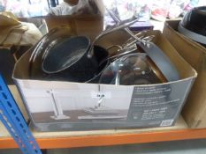 3040 Large box containing assorted saucepans and frying pans
